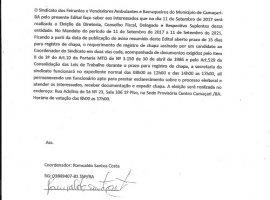 [Edital de Convocação de Eleição do Sindicato dos Feirantes de Camaçari ]