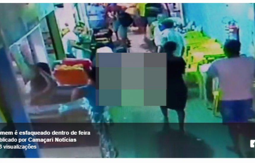 Vídeo mostra homem sendo esfaqueado na Feira de Camaçari