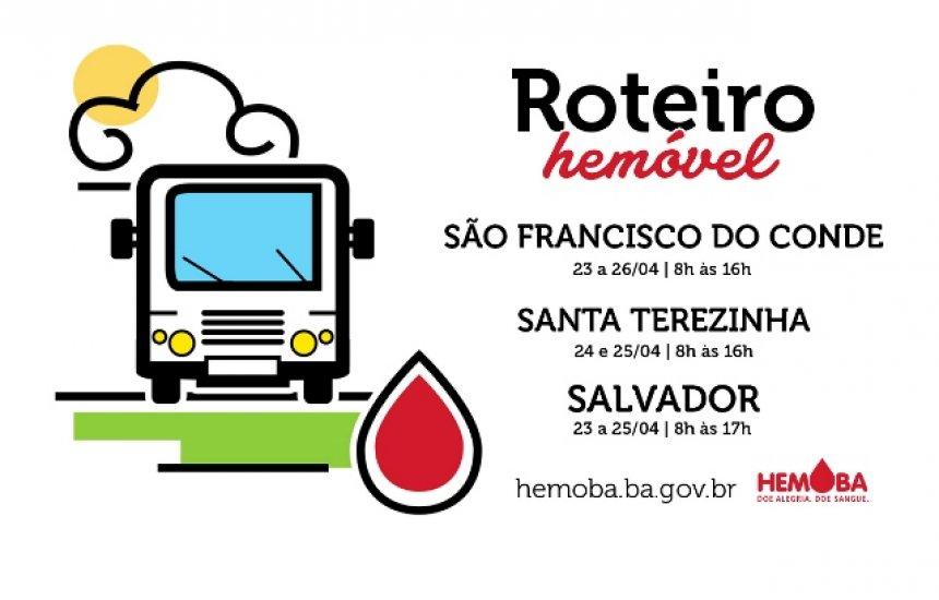 [Hemoba divulga roteiro dos Hemóveis para captação de doadores de sangue e medula]