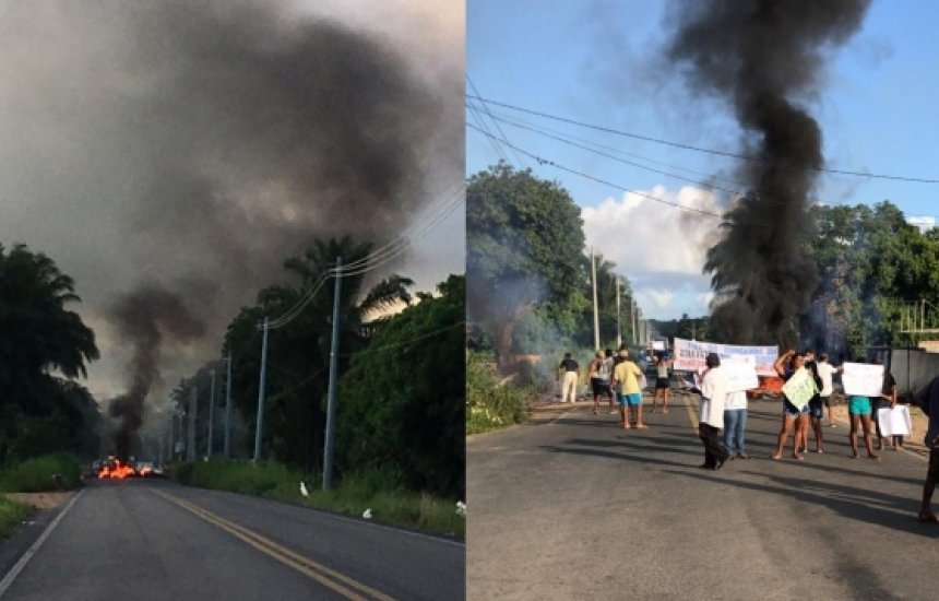 [Moradores bloqueiam via durante protesto por falta de água em Camaçari]