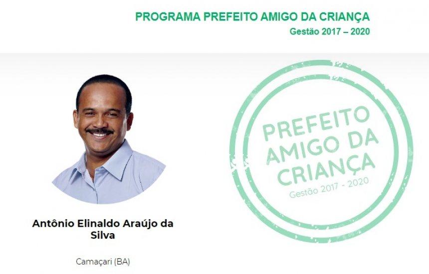 [Prefeito Elinaldo recebe título do programa Prefeito Amigo da Criança pela fundação Abrinq]