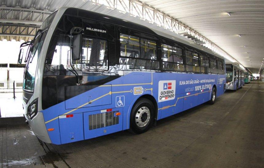 Ônibus elétricos que irão circular no Subúrbio Ferroviário de Salvador realizam primeira viagem teste