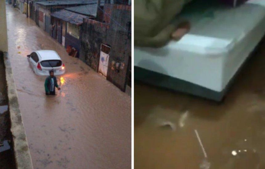 [Chuva causa alagamento no Jardim Brasília e moradores têm casa invadida pela água]